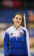 """Glasgow. SCOTLAND.  CZE'S,  ice, Alzbete BAUDYSOVA, records a near mis with a smile,  """"Round Robin"""" Games. Le Gruyère European Curling Championships. 2016 Venue, Braehead  Scotland<br /> Monday  21/11/2016<br /> <br /> [Mandatory Credit; Peter Spurrier/Intersport-images]"""