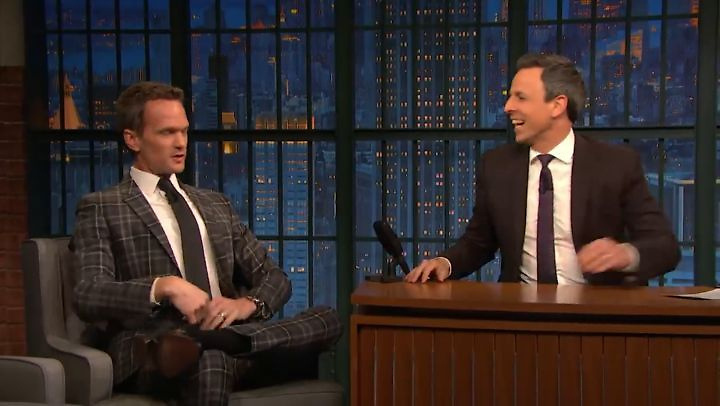 """Neil Patrick Harris releases a photo on Instagram with the following caption: """"Have a nice weekend! \ud83d\ude02\ud83d\ude09\ud83d\udd28\n#neilpatrickharris #nph #tagsforlikes #actor #lovehim #handsome #interview #sethmeyers #asoue #asouenetflix #aseriesofunfortunateevents #drhorrible #funny #lol #awesome #legendary @nph \ud83d\ude01"""". Photo Credit: Instagram *** No USA Distribution *** For Editorial Use Only *** Not to be Published in Books or Photo Books ***  Please note: Fees charged by the agency are for the agency's services only, and do not, nor are they intended to, convey to the user any ownership of Copyright or License in the material. The agency does not claim any ownership including but not limited to Copyright or License in the attached material. By publishing this material you expressly agree to indemnify and to hold the agency and its directors, shareholders and employees harmless from any loss, claims, damages, demands, expenses (including legal fees), or any causes of action or allegation against the agency arising out of or connected in any way with publication of the material."""
