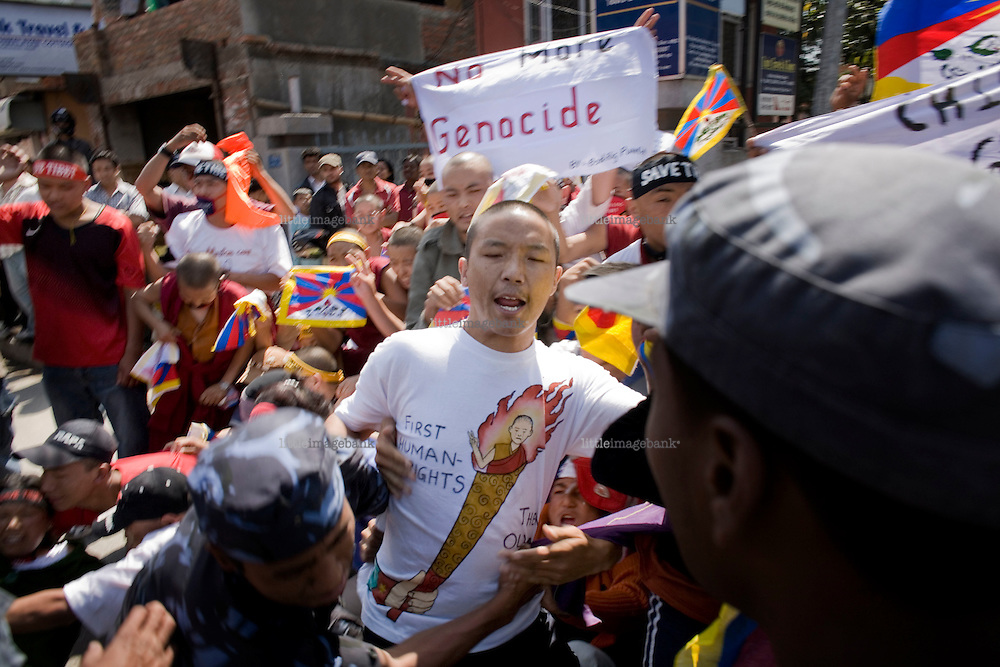 Exile tibetans in Nepal are gathered in the center of Kathmandu to rally against the chinese regime and it's way of handling the Tibet situation. Photo: Christopher Olssøn, Kathmandu Nepal 2008.