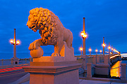 A marble Medici lion  guards the western end of the Bridge of Lions in Saint Augustine, Florida.  The bridge connects downtown Saint Augustine to Anastasia Island and is listed on the National Register of Historic Places.