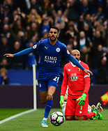 Riyad Mahrez of Leicester celebrates after he scores his teams 2nd goal  to put his side 2-0 up. Premier league match, Leicester City v Watford at the King Power Stadium in Leicester, Leicestershire on Saturday 6th May 2017.<br /> pic by Bradley Collyer, Andrew Orchard sports photography.