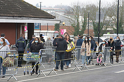 © Licensed to London News Pictures 06/02/2021.        Sidcup, UK. Long queues today at this Tesco supermarket in Sidcup, South East London as stores continue to limit the number of people inside due to the threat of Covid-19. Photo credit:Grant Falvey/LNP