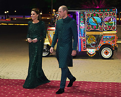 The Duke and Duchess of Cambridge arrive by tuk tuk for a reception hosted by the British High Commissioner to Pakistan Thomas Drew CMG at the National Monument in Islamabad during the second day of the royal visit to Pakistan.