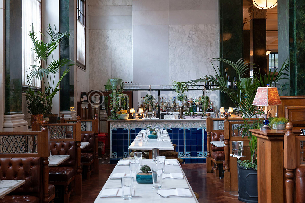 Malibu Kitchen at The Ned hotel on the 4th October 2019 in London in the United Kingdom. The Ned is a luxury hotel and members club in the City of London. The location is set in a former bank head quarters designed in 1924 by Sir Edwyn Lutyens.