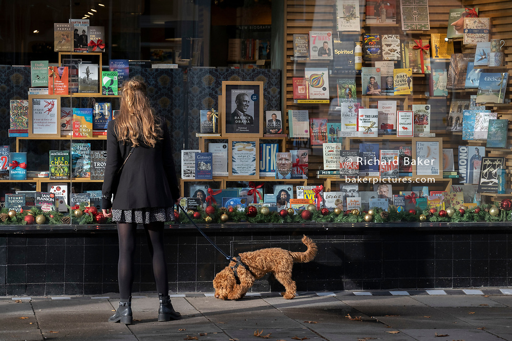 A dog walker passes Christmas books stock in the window of a closed Chelsea branch of Waterstones on the King's Road during the second Coronavirus lockdow when most non-essential retailers and small businesses remain closed by order of the government, on 13th November 2020, in London, England.