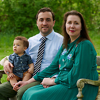 Sewickley, PA - May 2:  During a family portrait session with Evan, Sarah, and Toby Fitzpatrick on May 2, 2021 at Sewickley Heights Bourough Park in Sewickley PA. (Photo by Shelley Lipton)