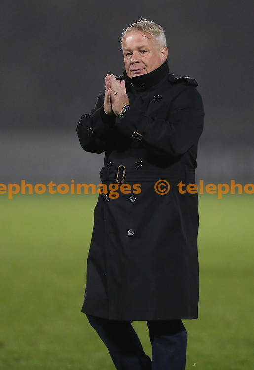 Crawley Town's Manager Dermot Drummyduring the FA Cup replay between Bristol Rovers and Crawley Town at the Memorial Stadium in Bristol. November 15, 2016.<br /> James Boardman / Telephoto Images<br /> +44 7967 642437