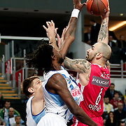 Olympiacos's Pero Antic (R) during their Euroleague Basketball Game 7 match Fenerbahce Ulker between Olympiacos at Sinan Erdem Arena in Istanbul, Turkey, Thursday, December 01, 2011. Photo by TURKPIX