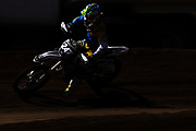 A motocross athlete rounds a corner during a training session at LACR MX on June 30, 2020 in Palmdale, California.