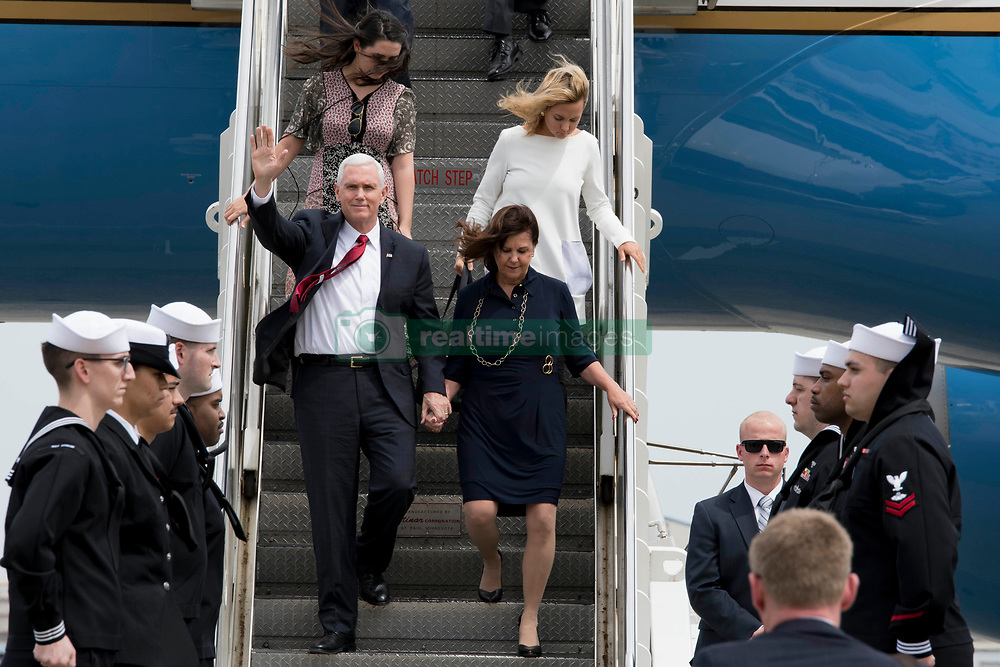 170418-N-JD834-044 <br /> ATSUGI, Japan (April 18, 2017) Vice President Mike Pence waves as he departs Air Force Two upon his arrival to Naval Air Facility Atsugi, Japan. The stop marked Pence's first official visit to Japan as vice president. During his trip, Pence will emphasize President Trump's continued commitment to U.S. alliances and partnerships in the Asia-Pacific region, highlight the Administration's economic agenda, and underscore America's support for our troops at home and abroad. (U.S. Navy photo by Mass Communication Specialist 2nd Class Michael Doan/Released)