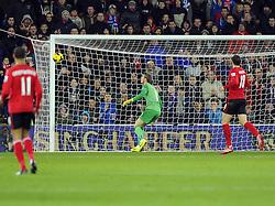 Man Utd Goalkeeper David De Gea (ESP) watches as Cardiff City Forward, Fraizer Campbell's effort hits the bar (ENG) - Photo mandatory by-line: Joseph Meredith/JMP - Tel: Mobile: 07966 386802 - 24/11/2013 - SPORT - FOOTBALL - Cardiff City Stadium - Cardiff City v Manchester United - Barclays Premier League.