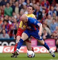 Photo: Daniel Hambury.<br />Crystal Palace v Watford. Coca Cola Championship. Play off Semi-Final, First Leg. 06/05/2006.<br />Palace's Andrew Johnson is stopped by Watford's Malky Mackay.