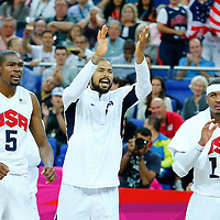 08 August 2012: USA Kevin Durant, Tyson Chandler and Carmelo Anthony react during 119-86 Team USA victory over Team Australia, during the men's basketball quarter-finals, at the 02 Arena, in London, Great Britain.