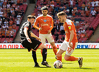 Blackpool's Elliot Embleton competing with Lincoln City's Conor McGrandles <br /> <br /> Photographer Andrew Kearns/CameraSport<br /> <br /> The EFL Sky Bet League One Play-Off Final - Blackpool v Lincoln City - Sunday 30th May 2021 - Wembley Stadium - London<br /> <br /> World Copyright © 2021 CameraSport. All rights reserved. 43 Linden Ave. Countesthorpe. Leicester. England. LE8 5PG - Tel: +44 (0) 116 277 4147 - admin@camerasport.com - www.camerasport.com
