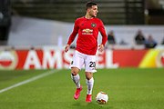 Manchester United defender Diogo Dalot (20) during the Europa League match between Club Brugge and Manchester United at Jan Breydel Stadion, Brugge, Belguim on 20 February 2020.