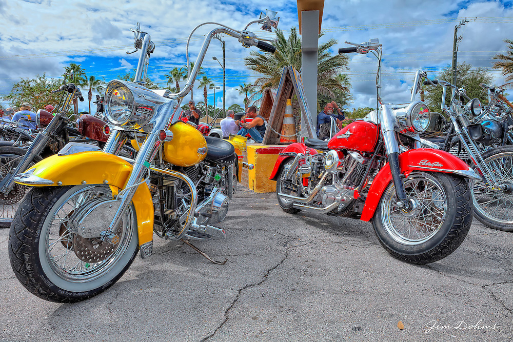 Two Harley FLH bikes at Willie's Tropical Tattoo Bike Show at Biketoberfest.