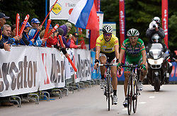 Fourth placed Jakob Fuglsang (DEN) of Team Saxo Bank and third placed Domenico Pozzovivo (ITA) of CSF Group - Navigare at finish line at hill Krvavec at 3rd stage of Tour de Slovenie 2009 from Lenart to Krvavec, 175 km, on June 20 2009, Slovenia. (Photo by Vid Ponikvar / Sportida)