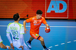 The Dutch handball player Rutger ten Velde against Slovenia during the European Championship qualifying match on January 6, 2020 in Topsportcentrum Almere