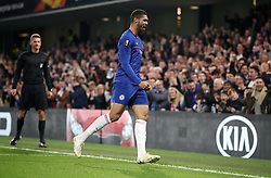 Chelsea's Ruben Loftus-Cheek (left) celebrates scoring his side's first goal of the game during the UEFA Europa League, Group L match at Stamford Bridge, London.