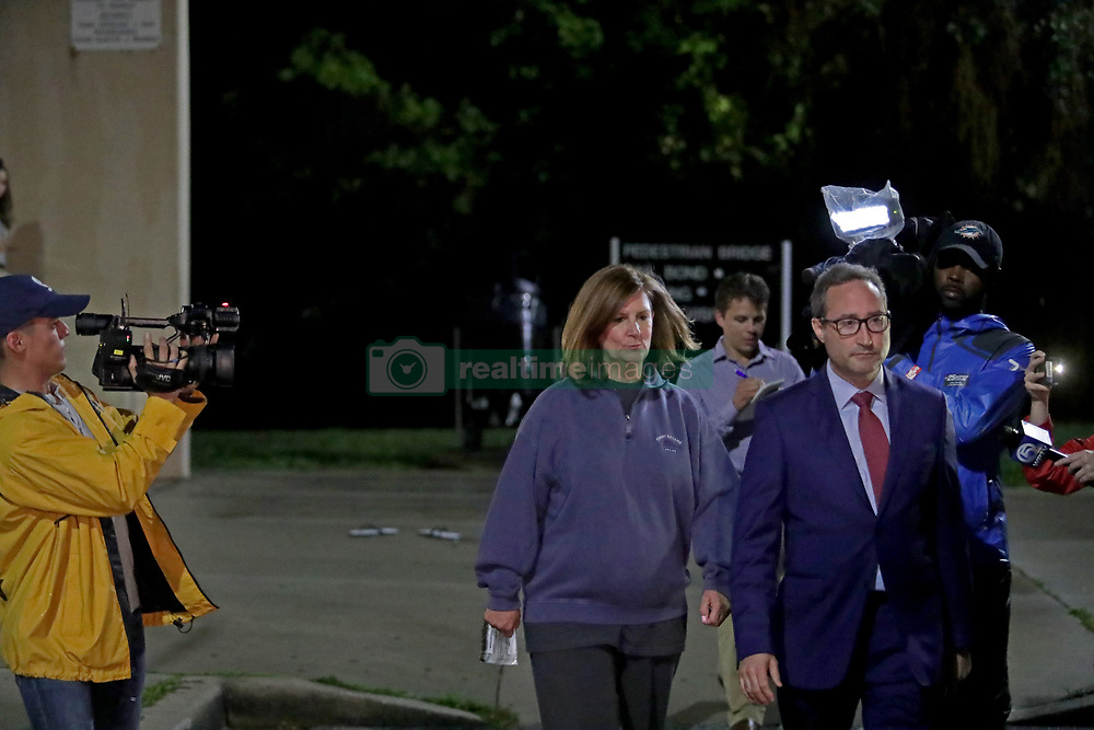April 24, 2018 - West Palm Beach, FL, USA - Boca Raton Mayor Susan Haynie and her attorney Leonard Feuer leave the Palm Beach County jail Tuesday night, April 25, 2018 in West Palm Beach, Fla. Haynie was booked on charges that she lied about money she took from developers and hid more than $335,000 in income. (Credit Image: © John Mccall/TNS via ZUMA Wire)