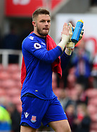 Jack Butland of Stoke claps to the fans.  Premier league match, Stoke City v West Ham Utd at the Bet365 Stadium in Stoke on Trent, Staffs on Saturday 29th April 2017.<br /> pic by Bradley Collyer, Andrew Orchard sports photography.