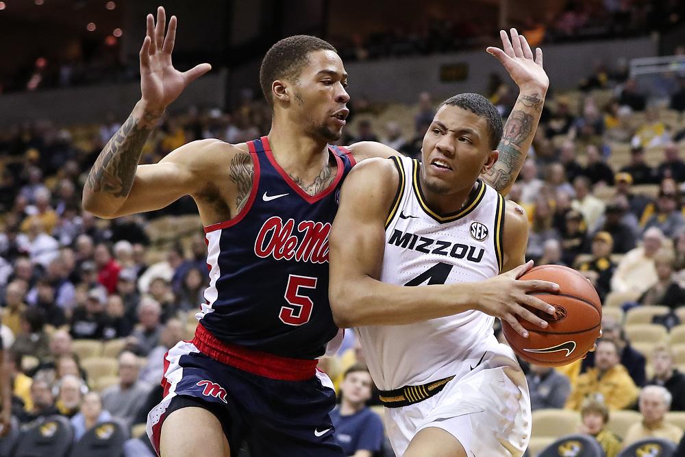 Mizzou guard Javon Pickett (4). <br /> Mizzou Tigers vs. Ole Miss Rebels at Mizzou Arena in Columbia, Mo. on Tuesday, Feb. 18, 2020. <br /> Zach Bland/Mizzou Athletics