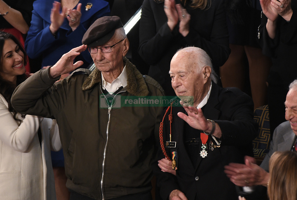 Special guest of the President and WWII veteran Herman Zeitchik (R), surrounded by other special guests, is acknowledged by the audience during US President Donald Trump's State of the Union address at the US Capitol in Washington, DC on February 5, 2019. DC.Photo by Olivier Douliery/ABACAPRESS.COM