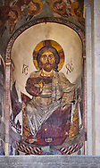 Pictures & images of the interior apse fresco depicting Christ Pantocrator. The Eastern Orthodox Georgian Svetitskhoveli Cathedral (Cathedral of the Living Pillar) , Mtskheta, Georgia (country). A UNESCO World Heritage Site.<br /> <br /> Currently the second largest church building in Georgia, Svetitskhoveli Cathedral is a masterpiece of Early Medieval architecture completed in 1029 by Georgian architect Arsukisdze on an earlier site dating back toi the 4th century. .<br /> <br /> Visit our MEDIEVAL PHOTO COLLECTIONS for more   photos  to download or buy as prints https://funkystock.photoshelter.com/gallery-collection/Medieval-Middle-Ages-Historic-Places-Arcaeological-Sites-Pictures-Images-of/C0000B5ZA54_WD0s<br /> <br /> Visit our REPUBLIC of GEORGIA HISTORIC PLACES PHOTO COLLECTIONS for more photos to browse, download or buy as wall art prints https://funkystock.photoshelter.com/gallery-collection/Pictures-Images-of-Georgia-Country-Historic-Landmark-Places-Museum-Antiquities/C0000c1oD9eVkh9c