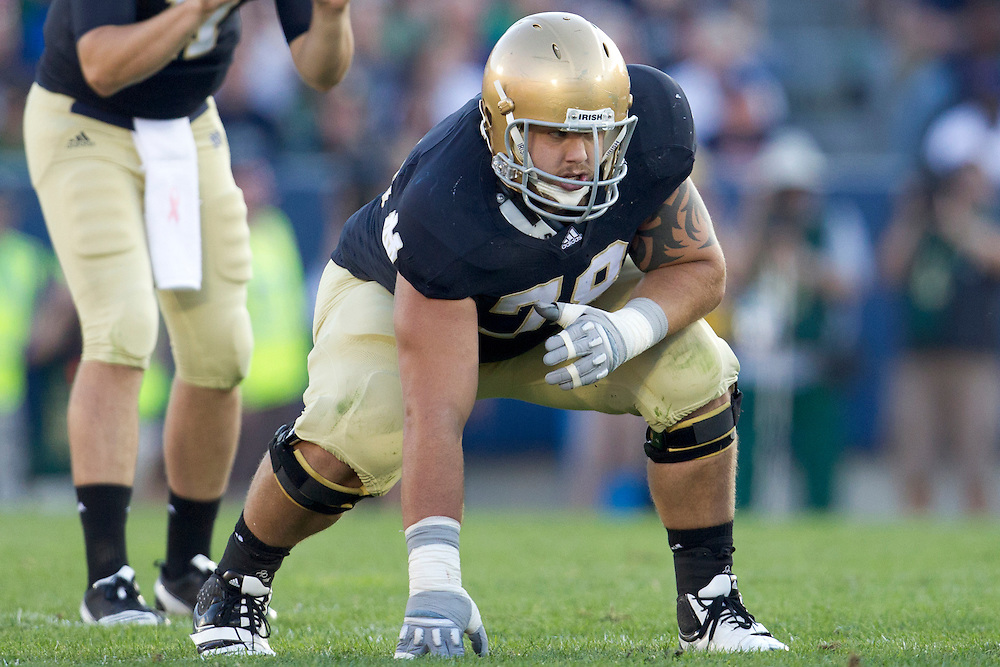 Notre Dame offensive guard Trevor Robinson (#78) in action during NCAA football game between Notre Dame and Air Force.  The Notre Dame Fighting Irish defeated the Air Force Falcons 59-33 in game at Notre Dame Stadium in South Bend, Indiana.