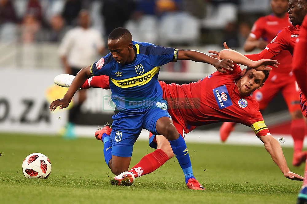 Cape Town-180804 Supersport midfielder Dean Furman challenged by Cape Town City midfielder Thabo Nodada in the first game of the 2018/2019 season at Cape Town Stadium.photograph:Phando Jikelo/African News Agency/ANAr