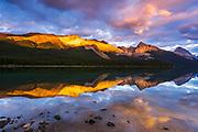 Evening light on Maligne Lake and Sampson Peak, Jasper National Park, Alberta Canada