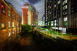 © Licensed to London News Pictures . 13/12/2019 . Manchester , UK . GV of Montana House on Princess Street in Manchester City Centre (top centre) , adjacent to the River Medlock and a parallel towpath , where Sinaga was living and committed many of his offences . Reynhard Sinaga has been convicted of over a hundred serious sexual assaults , including the rape of dozens of young men whom he lured to his flat from outside nightclubs in Manchester City Centre , making him one of the most prolific sex offenders ever to have been tried and convicted . Photo credit : Joel Goodman/LNP