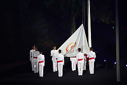 JAKARTA, Aug. 18, 2018  The flag of the Olympic Council of Asia is raised during the opening ceremony of the 18th Asian Games at Gelora Bung Karno (GBK) Main Stadium in Jakarta, Indonesia, Aug. 18, 2018. (Credit Image: © Ding Ting/Xinhua via ZUMA Wire)