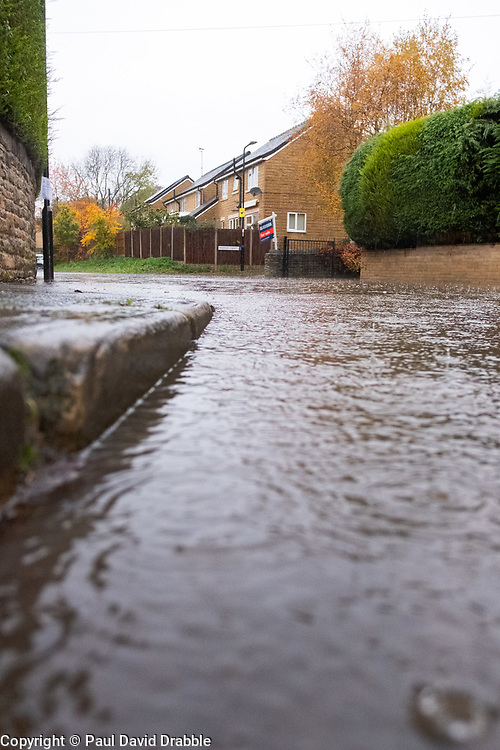 Flooding at the Junction of Whitley Lane and Church Street Ecclesfield.<br /> <br />  Copyright Paul David Drabble<br />  07 November 2019<br />  www.pauldaviddrabble.co.uk