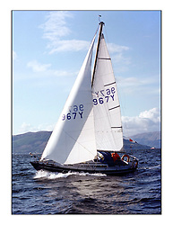 The Clyde Cruising Club's 1977 Tomatin Trophy the first Scottish Series held at Tarbert Loch Fyne.  An overnight race from Gourock to Campbeltown then on to Olympic Triangles in Loch Fyne. ..967Y Blueblazer S. McPeake.