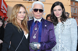 (L-R) Vanessa Paradis, Karl Lagerfeld and Anna Mouglalis attend the Chanel Cruise Collection presentation in Saint-Tropez, southern France on May 11, 2010. Photo by Thierry Orban/ABACAPRESS.COM