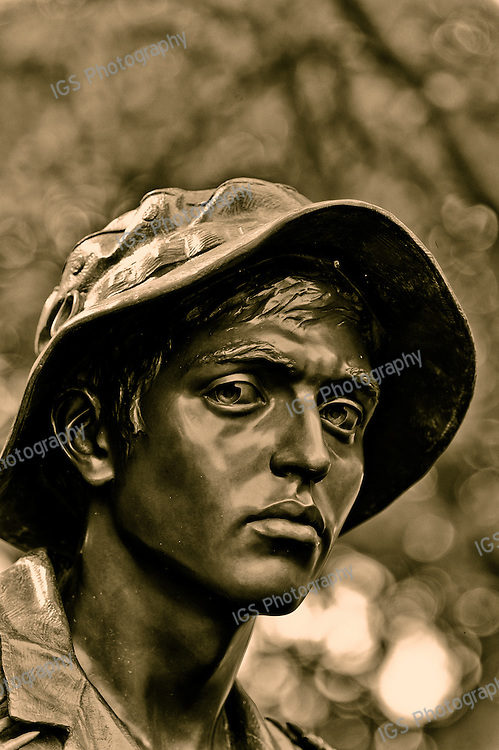 The Latino American (US Army) member of The Three soldiers Memorial located at the Vietnam war verterans memorial. Ther Latino American figure was modeled after Guillermo Smith De Perez DeLeon