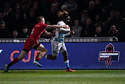 Sale Sharks wing Marland Yarde breaks down the wing during a Premiership Rugby Cup Semi Final, Friday  won by Sale 28-7, Feb. 7, 2020, in Eccles, United Kingdom. (Steve Flynn/Image of Sport)