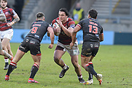 Liam Byrne (19) of Wigan Warriors runs forward with the ball