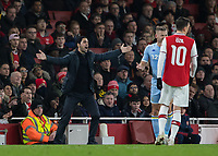 Football - 2019 /2020 FA Cup - Third Round: Arsenal vs. Leeds United.<br /> <br /> Mikel Arteta, Manager of Arsenal FC, arms outstretched appeals for the decision at the Emirates Stadium<br /> <br /> COLORSPORT/DANIEL BEARHAM