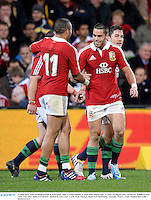 25 June 2013; Sean Maitland, British & Irish Lions, right, is congratulated by team-mate Simon Zebo, 11, after scoring his side's second try. British & Irish Lions Tour 2013, Melbourne Rebels v British & Irish Lions. AAMI Park, Olympic Boulevard, Melbourne, Australia. Picture credit: Stephen McCarthy / SPORTSFILE