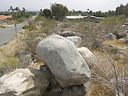 big stones stacked in a desert landscape
