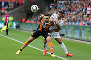 Robert Snodgrass of Hull city (l) holds off Jefferson Montero of Swansea city. Premier league match, Swansea city v Hull city at the Liberty Stadium in Swansea, South Wales on Saturday 20th August 2016.<br /> pic by Andrew Orchard, Andrew Orchard sports photography.