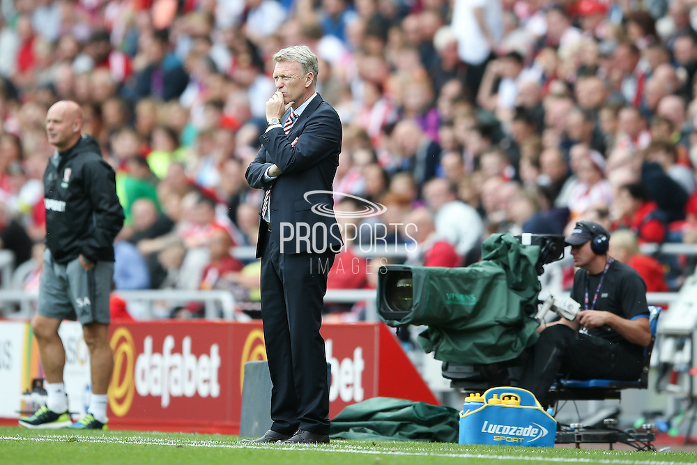 Sunderland Manager David Moyes in thought during the Premier League match between Sunderland and Middlesbrough at the Stadium Of Light, Sunderland, England on 21 August 2016. Photo by Simon Davies.