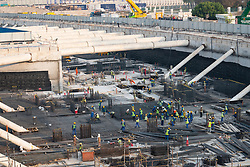 Deep excavation construction work for retail and residential development beside the Dubai Water Canal, UAE, United Arab Emirates