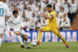 (l-r) Jesus Vallejo of Real Madrid, Sami Khedira of Juventus FC during the UEFA Champions League quarter final match between Real Madrid and Juventus FC at the Santiago Bernabeu stadium on April 11, 2018 in Madrid, Spain