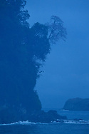 Fog over the coastline of Manuel Antonio National Park, one of the smallest and most visited parks in Costa Rica.