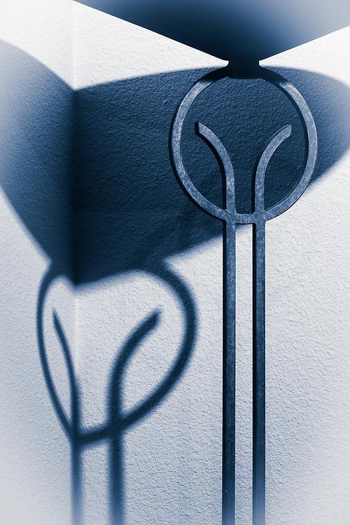 Floor lamp shadows, abstract, November, private residence, Tacoma, Washington, USA