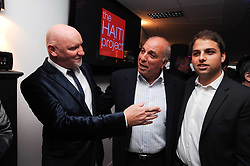 Left to right, SIR TOM HUNTER, DAVID REUBEN and JAMIE REUBEN at The Reuben Foundation and Virgin Unite Haiti Fundraising dinner held at Altitude 360 in Millbank Tower, London on 26th May 2010.