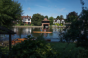 """Maidenhead, United Kingdom. Pre Racing Practice, Double. """"Thames Punting Club Regatta"""", Bray Reach.<br /> 09:13:20 Sunday  06/08/2017<br /> <br /> [Mandatory Credit. Peter SPURRIER Intersport Images}.<br /> <br /> LEICA Q (Typ 116) 28mm  f1.7   1/8000 /sec    100 ISO River Thames, .......... Summer, Sport, Sunny, Bright, Blue Skies, Skilful,"""